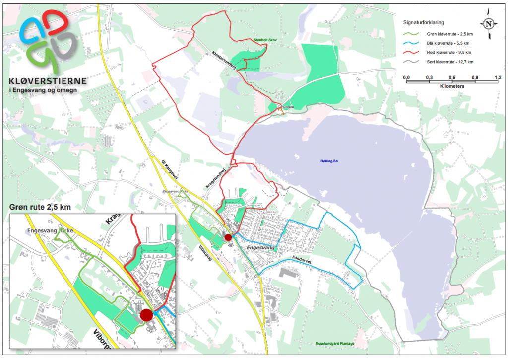 Kort med markering i forskellige farver for ruterne for Engesvangs fire Kløverstier